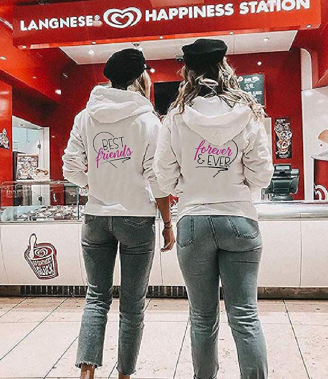 Sweat /À Capuche pour Deux Filles Coton Best Friend Pullover Hoodie Manches Longues Imprim/é avec Sister 01 Sister 02 Une pi/èce