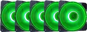Apevia CO512L-GN Cosmos 120mm Green LED Ultra Silent Case Fan w/ 16 LEDs & Anti-Vibration Rubber Pads (5 Pk)