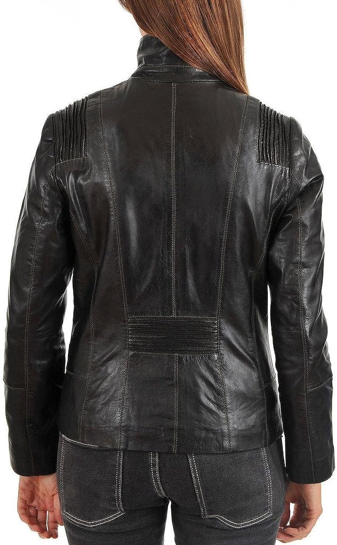 Kingdom Leather New Womens Leather Motorcycle Biker Jacket Soft Lambskin XW312