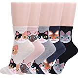Joah Women's 3 to 6-Pack Casual Ankle Crew Cotton Socks Novelty Cute Colorful
