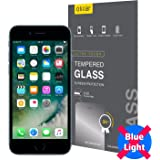 Olixar iPhone 8 Plus Anti Blue Light Screen Protector - Tempered Glass - 9H Hardness Rated, 95% Light Penetration & 0.3mm Thick - Application Card and Cleaning Cloth Included - Clear