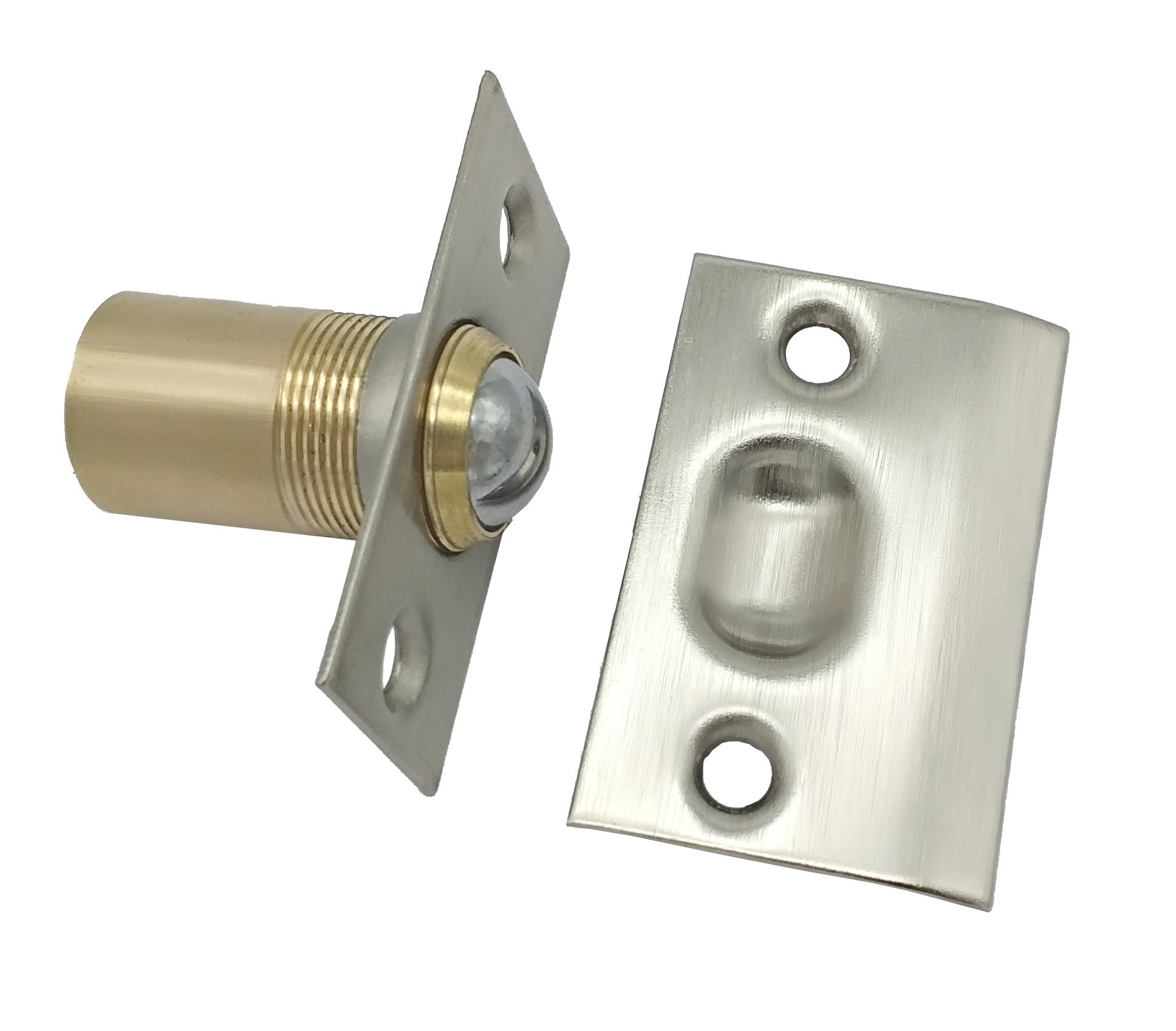 META Hardware Adjustable Cabinet/Closet/Door Large Ball Catch, with Strike& Screws, 2-1/8 inch, Satin Nickel (3 Pack)