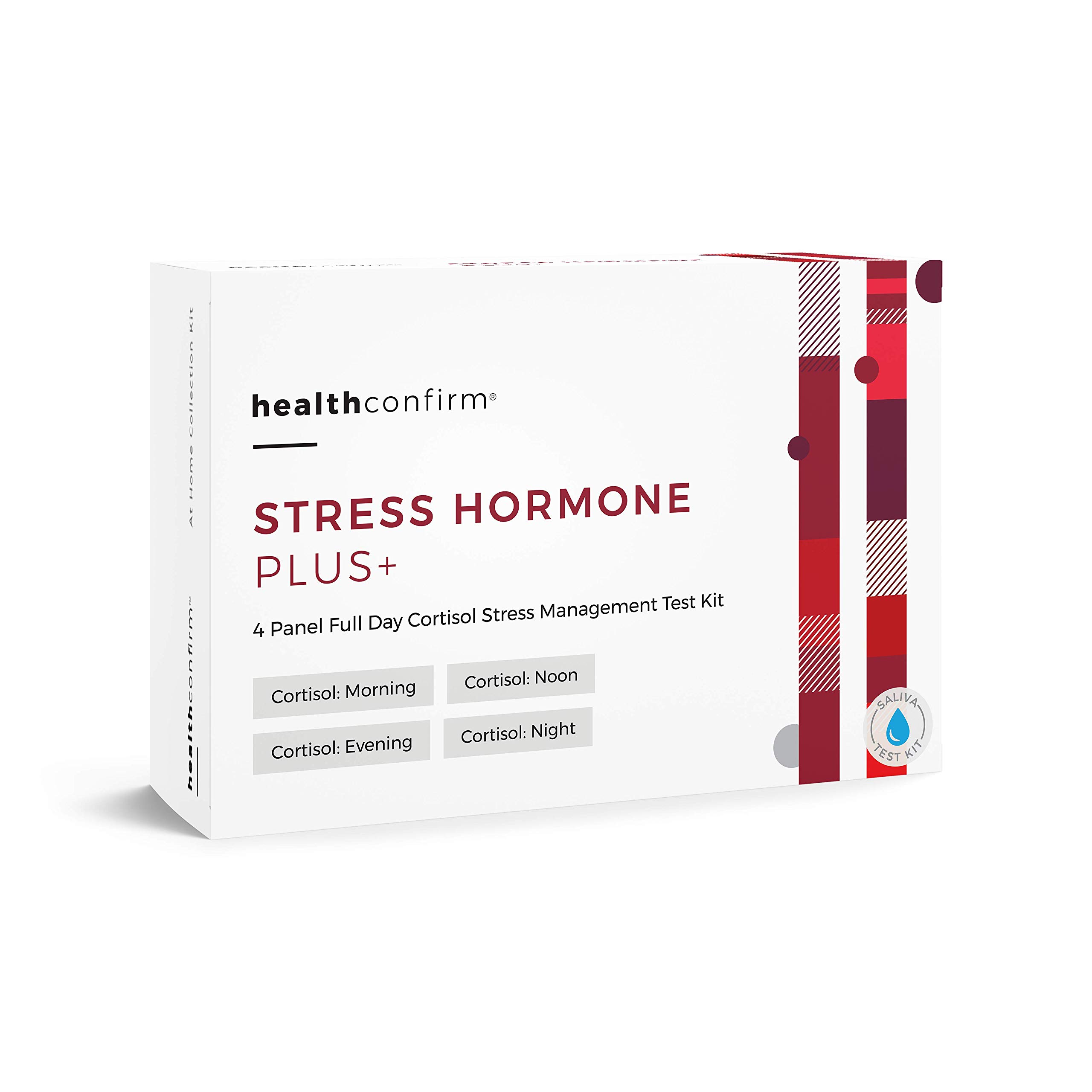 HealthConfirm Stress Hormone Plus, Full Day Cortisol Balance Saliva Collection Test Kit, Cortisol 4X (4 Panel) by HealthConfirm