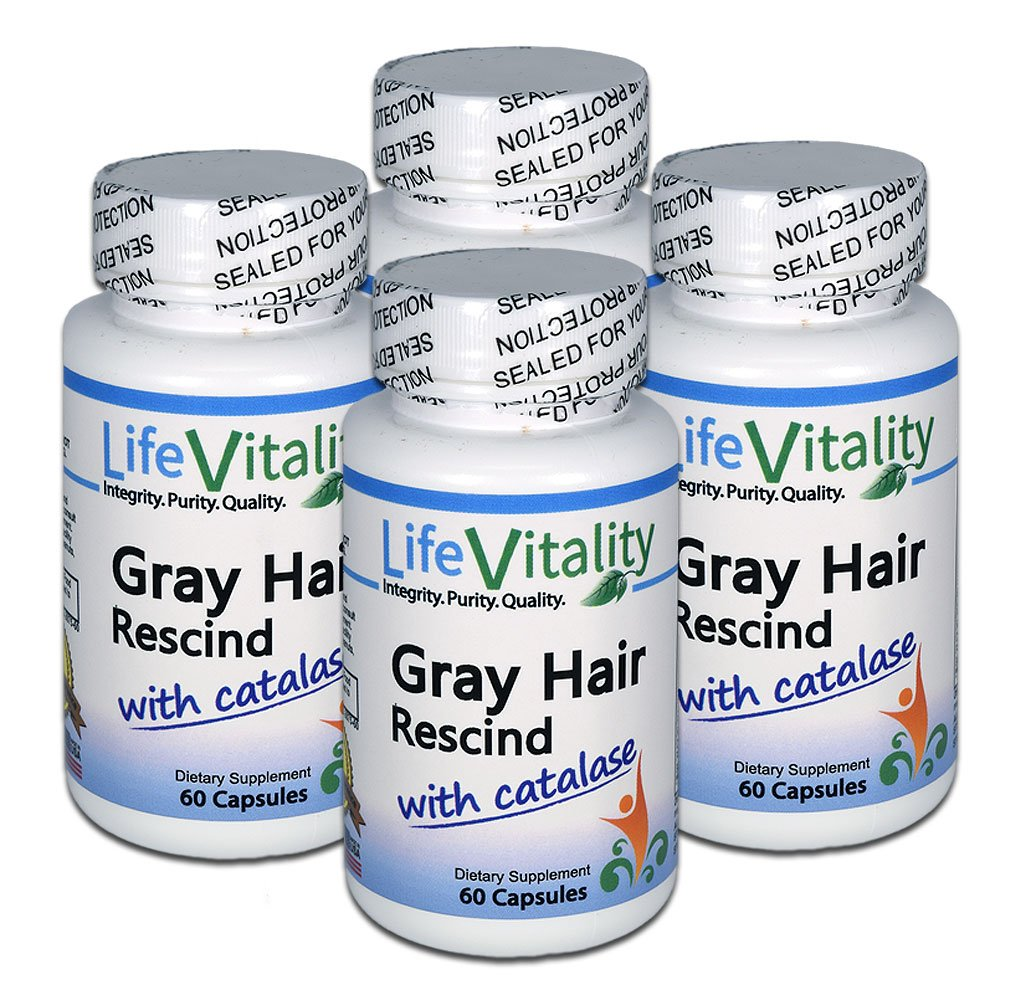 Gray Hair Rescind by Life Vitality Makes Gray Hair Go Away, 4 Pack, 240 Capsules, Catalase, Saw Palmetto, More - Helps Stop, Prevent Gray Hair, Restores Natural Color, Promotes Thicker, Healthier Hair by Life Vitality