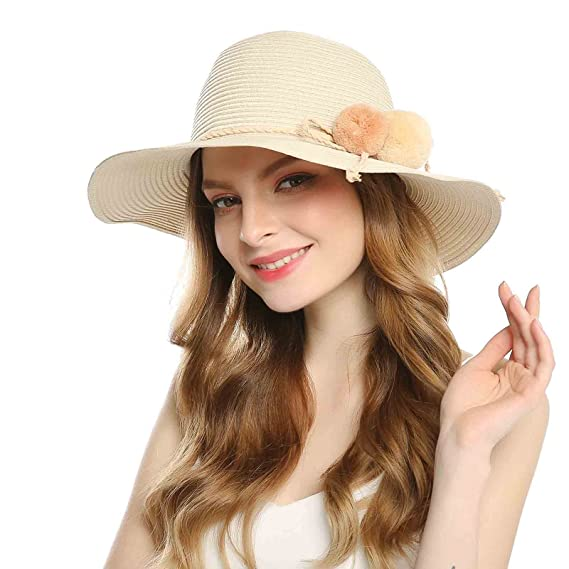 6eab28d3 Welrog Foldable Straw Summer Hats for Women Wide Brimmed Hats with Balls  for Travel(Beige