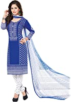Ishin Women's Blue & White Bollywood Printed Unstitched Salwar Suit Dress Material (Anarkali/Patiyala) With Dupatta