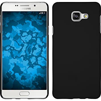 PhoneNatic Funda Rígida Compatible con Samsung Galaxy A5 (2016) A510 - Goma Negro - Cover Cubierta + Protector de Pantalla
