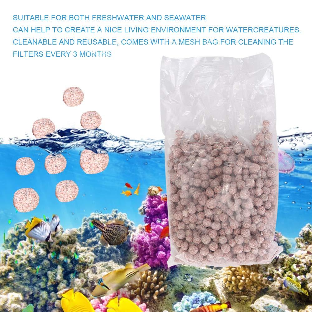 Hffheer Bolas de filtraci/ón para acuarios Bolas de filtraci/ón de Cuarzo para acuarios Bolas de filtraci/ón biol/ógicas Reutilizables Medios de filtrado de Alta Densidad para estanques para acuarios