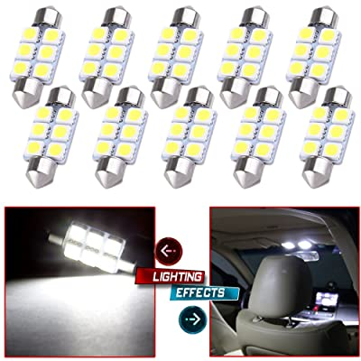 cciyu 10x Super White LED 5050 6SMD Bulbs 36MM Epistar Light Lamp DE3423 DE3425 C5W 3423 Replacement fit for 2007 2008 2009 2010 Kia Optima Dome Light Trunk/Cargo Area Light: Automotive