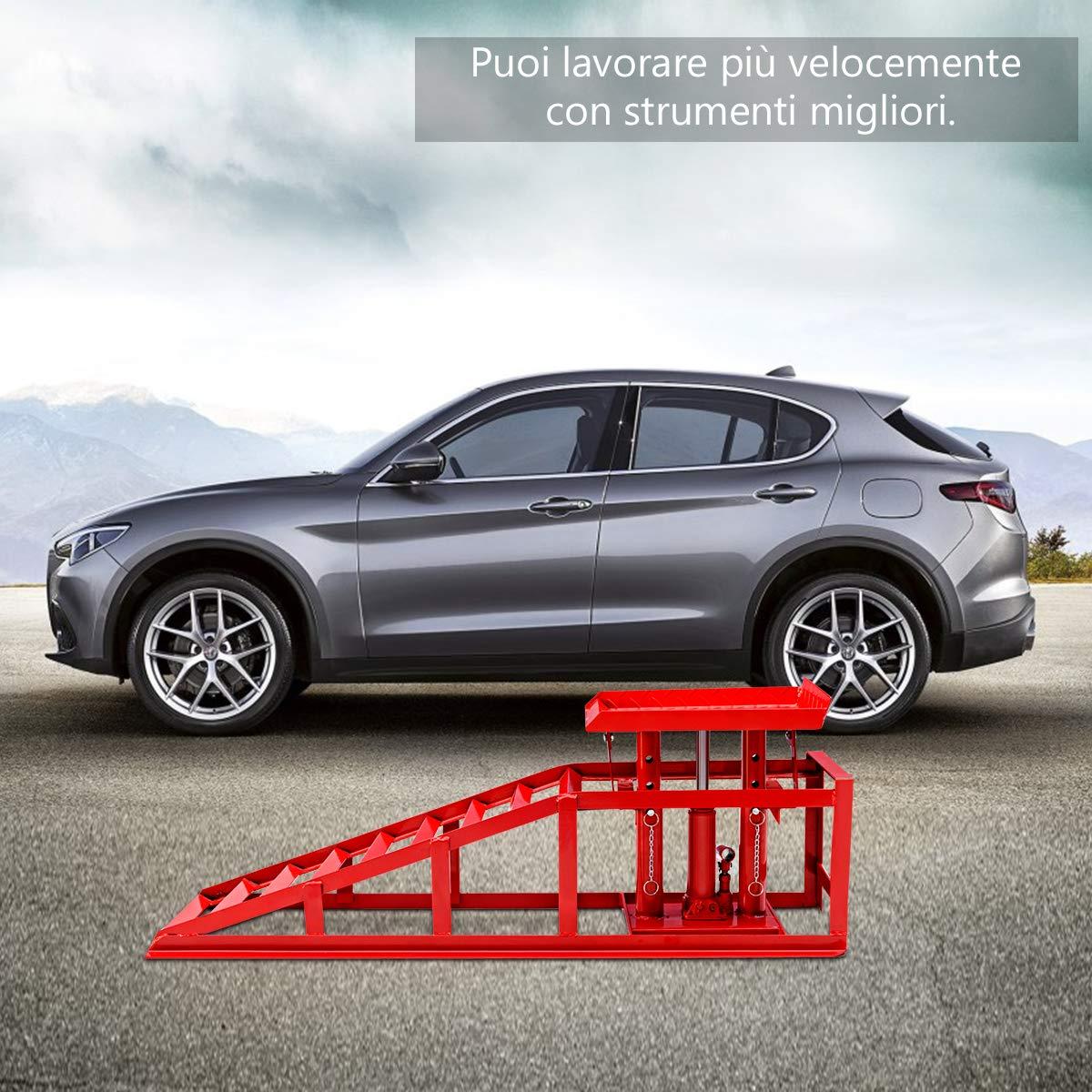 2 t Carico Max COSTWAY Rampa di Sollevamento per Auto con Martinetto Idraulico Regolabile in Altezza Rosso