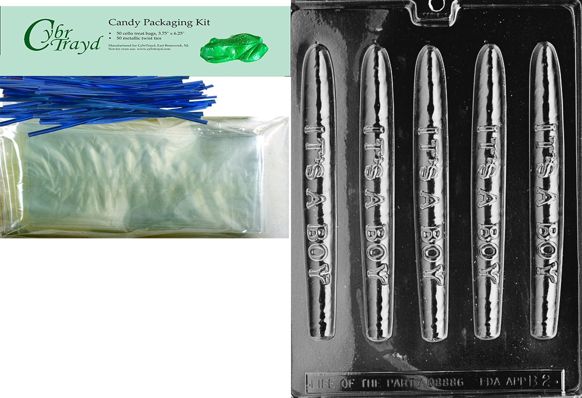 Cybrtrayd''Cigar-It's a Boy'' Baby Chocolate Candy Mold with Packaging Bundle, Includes 50 Cello Bags and 50 Blue Twist Ties