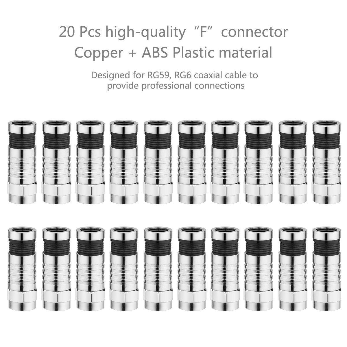 PoWise D/énudeur de C/âble Coaxiaux,Pince Set /à Sertir avec Pince /à D/énuder et 20 pcs Connecteurs de Type-F Pince /à D/énuder pour C/âble Coaxial RG 6//RG 58//RG 59//RG 174 Outil de D/énudage