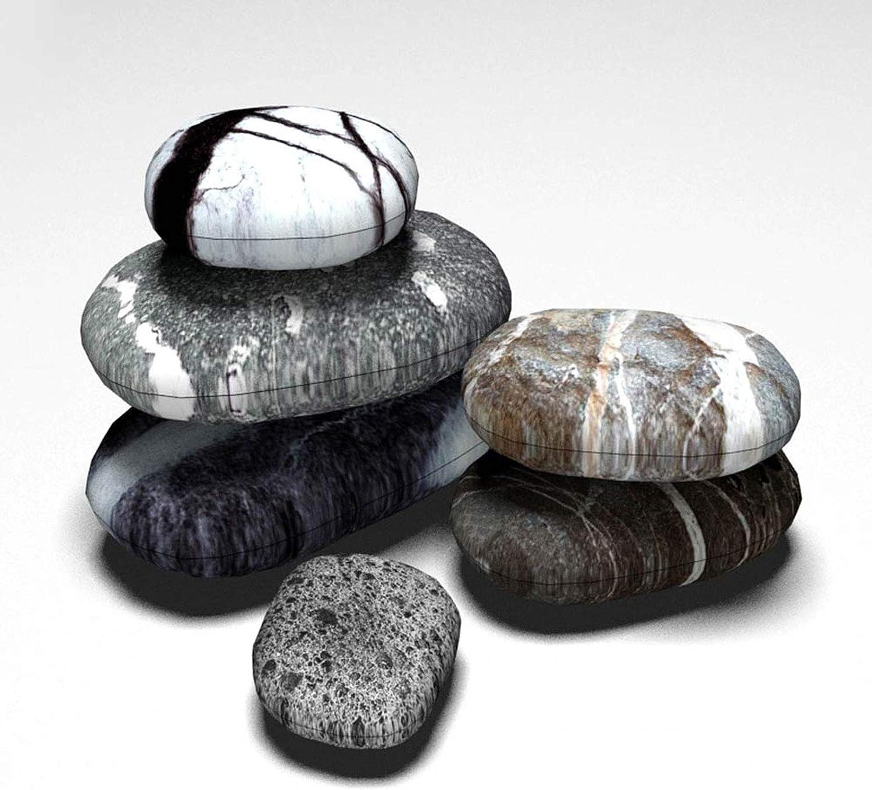 Comet Stone, 6 Pice Set Different Sizes 6-Piece Set Big Giant Cobblestone Cushion Cover Rock Life Pillow Pet Floor Mat Decoration Embrace Pillowcase Concealed Zipper Removable and Washable