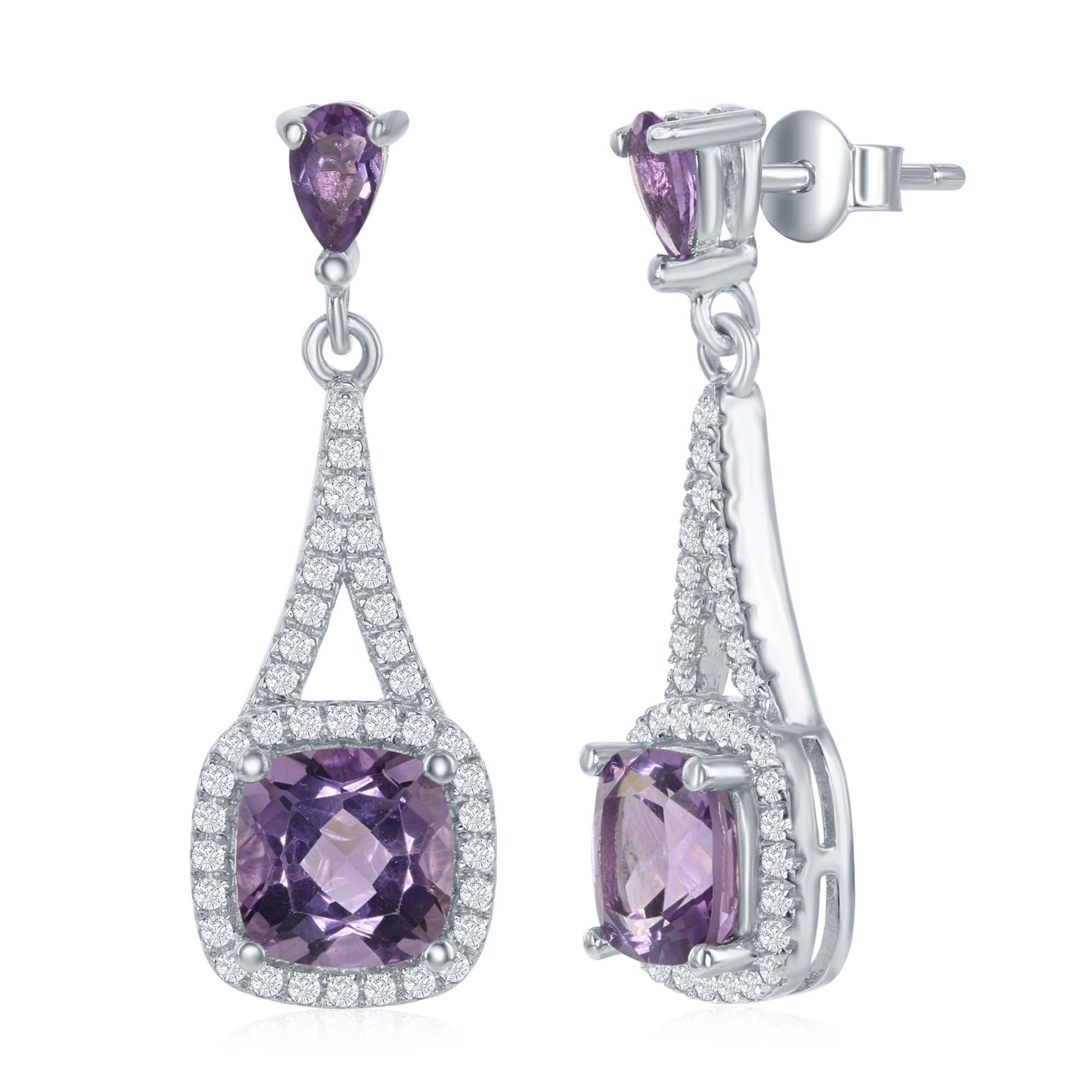 Sterling Silver High Polish Prong-Set Square Amethyst or Pink Sapphire with White Topaz Border Earrings by Beaux Bijoux