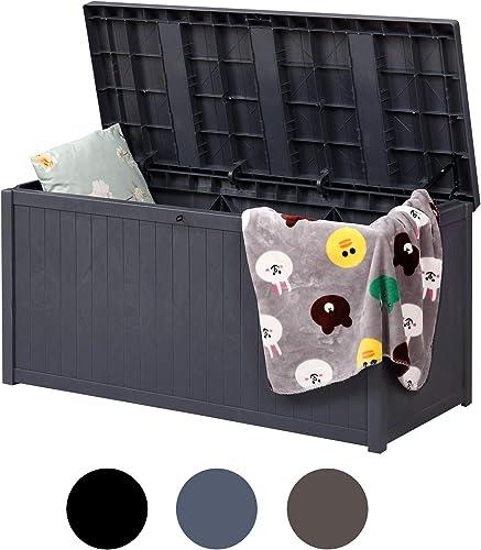 Plastic Deck Storage Container Box – Waterproof 120 Gallon Outdoor Patio Garden Furniture, Grey, Update for Hydraulic Lever