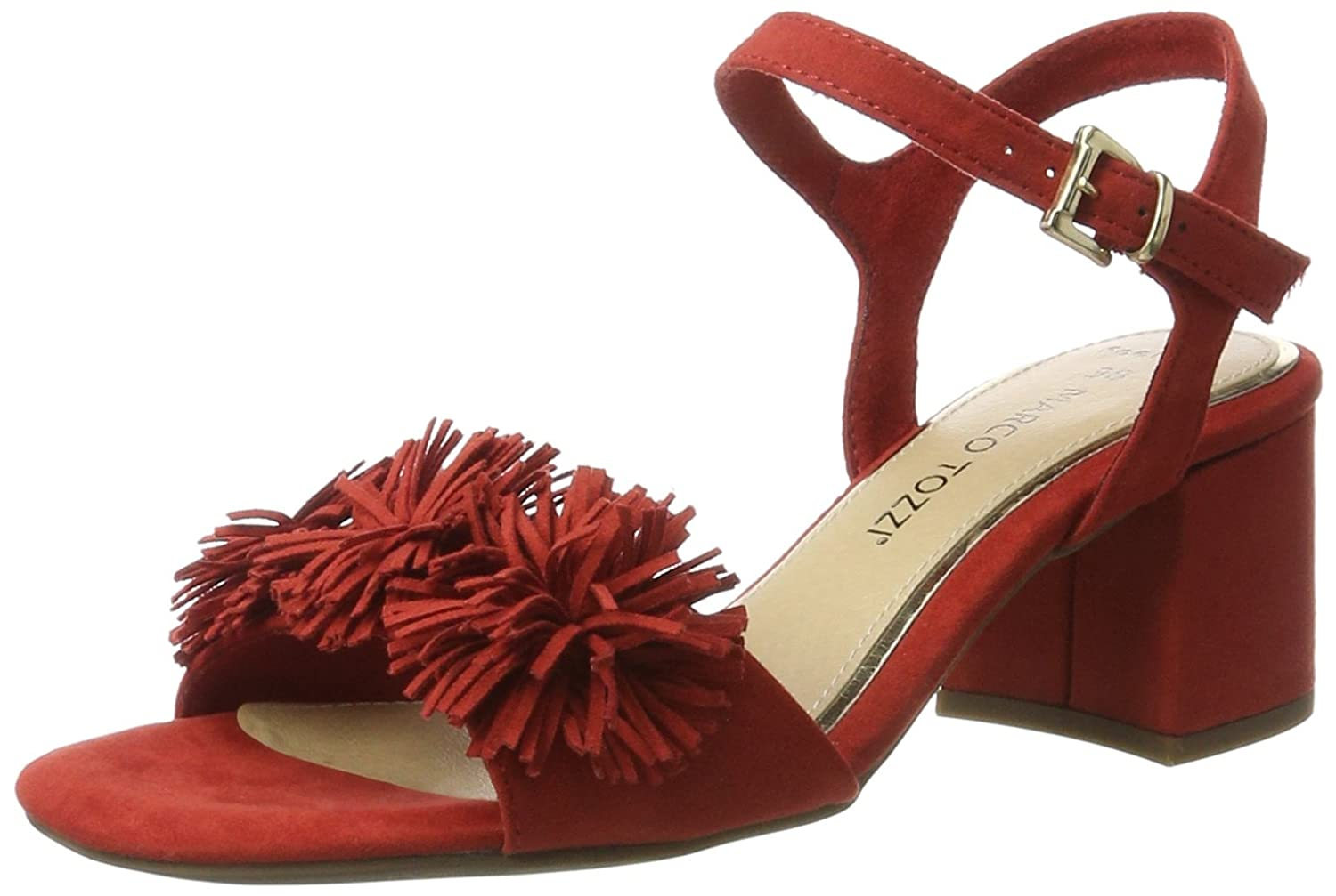Marco Tozzi 28315, Sandales Bout Ouvert Femme, Rouge (Red 500), 37 EU