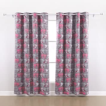 Amazon.com: Deconovo Pink Cat Print Blackout Curtains Grommet Top ...