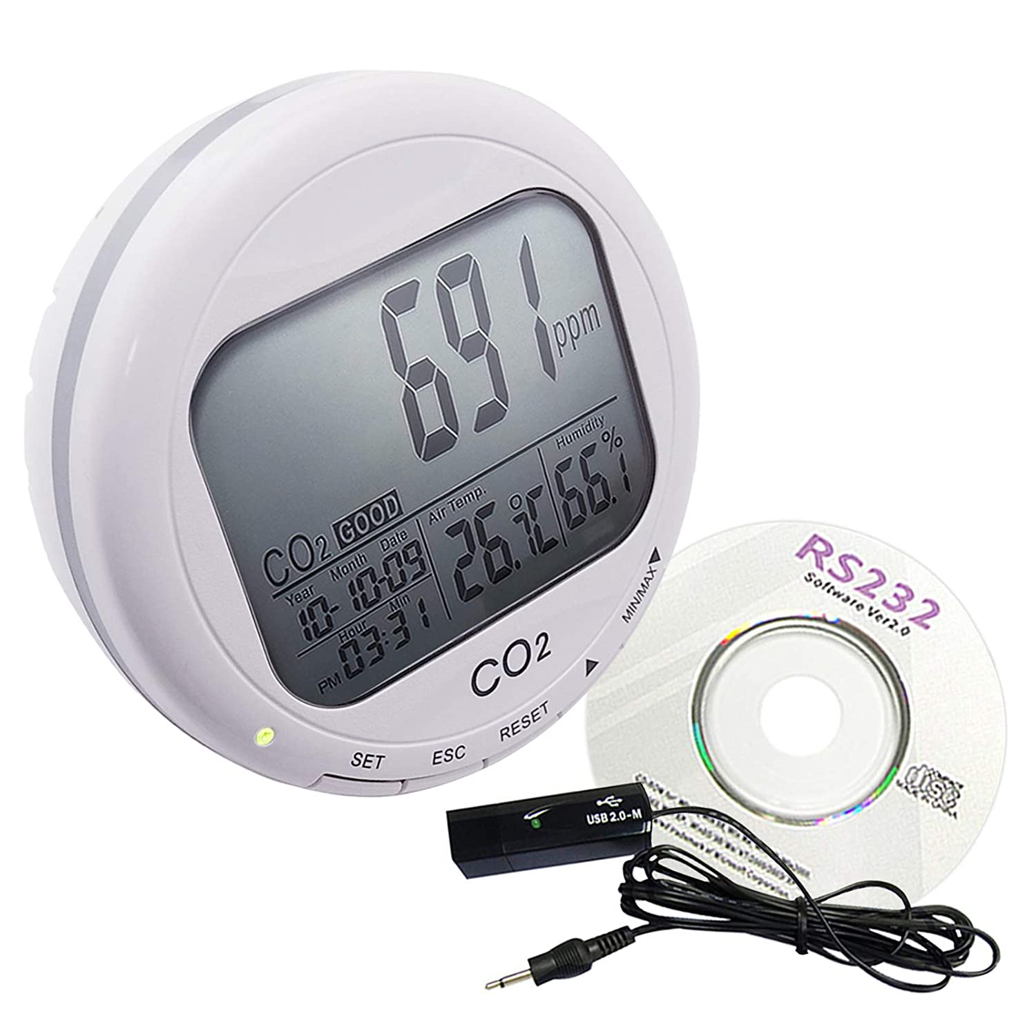 Desktop CO2/RH/Temp 3 in 1 Monitor with Data Logger Logging, Indoor Air Quality 9999 ppm Carbon Dioxide/Temperature Deg C/F/Humidity Meter, Adjustable Audible Alarm Gain Express holdings Ltd. CO98