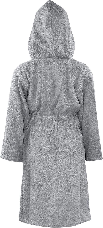 Enfants Filles Garçons Peignoir Souple Terry Gris Costume Capuche de Luxe Nuit