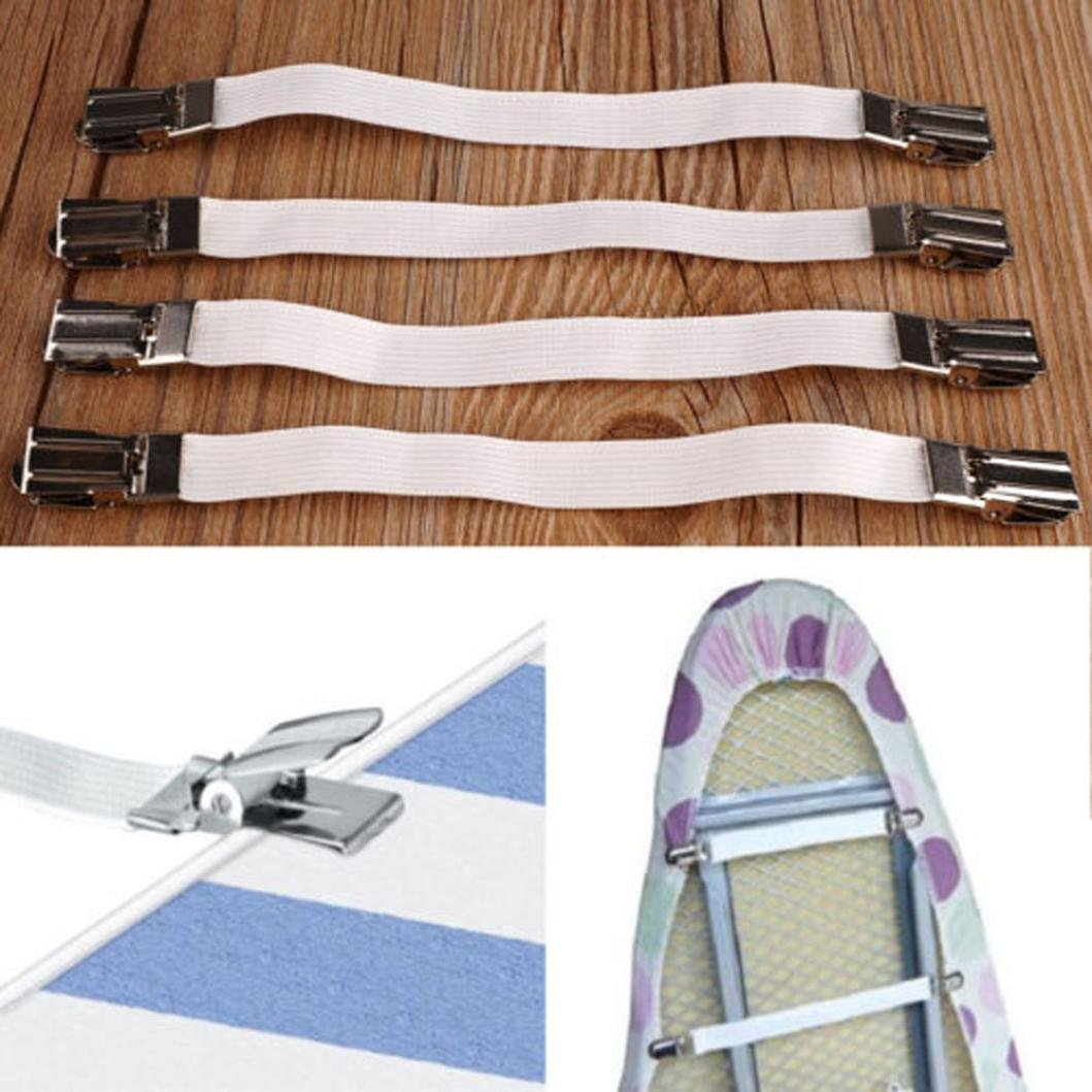 SOthread 4pcs Metal Bed Sheet Fasteners Mattress Strong Clip Grippers Elastic Holder.