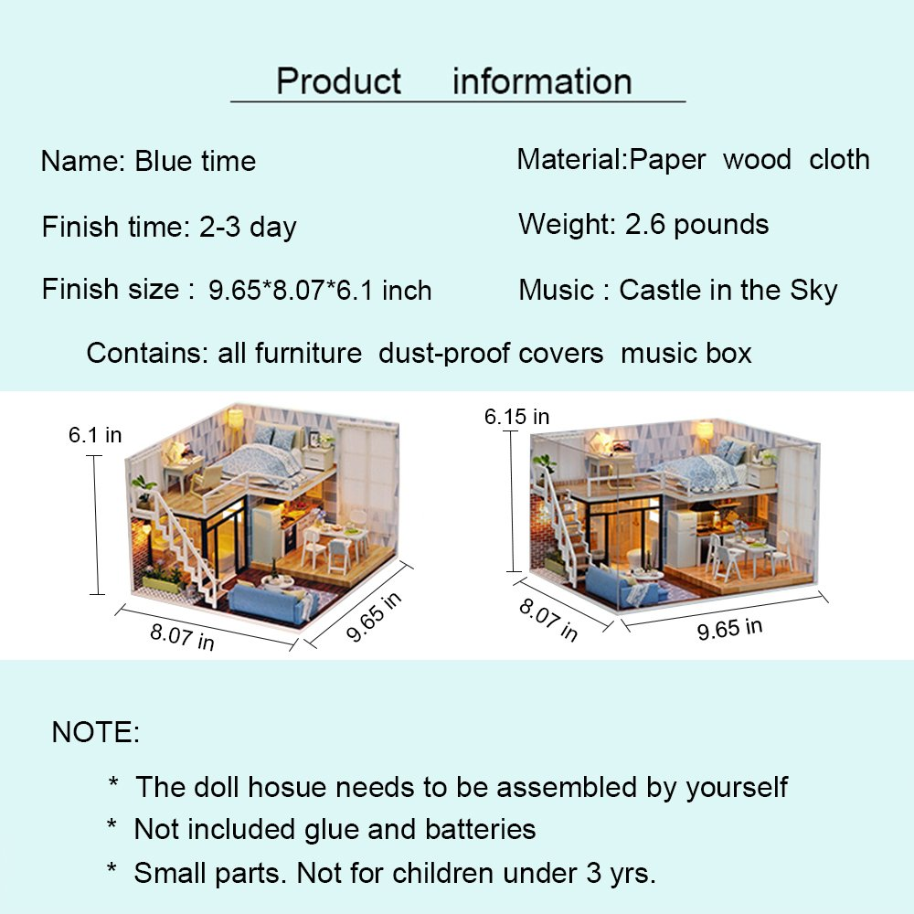 Spilay diy miniature dollhouse wooden furniture kithandmade mini modern apartment model with dust cover