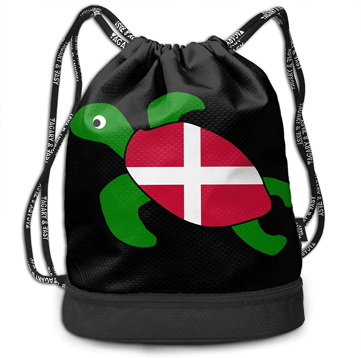 Sea Turtle Denmark Flag Men//Women Drawstring Pack Beam Mouth School Travel Backpack Rucksack Shoulder Bags