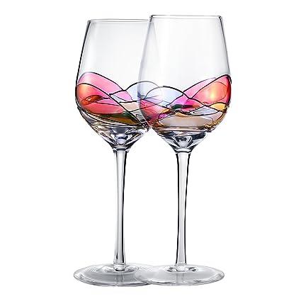 Amazon Com Hand Painted Wine Glasses Bouquetier Unique Piece Of