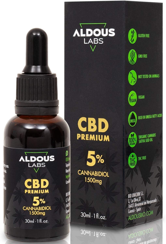 Auténtico CBD Oil 5% | Aceite de Cáñamo Bio enriquecido con 5% CBD | 30ml - 1200 gotas Aceite CBD Premium | Ayuda a reducir estrés, ansiedad y dolor | Hemp Oil con 1500mg de Cannabidiol | 0% THC