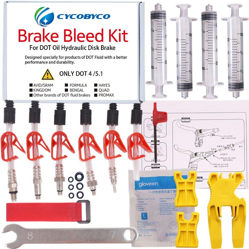 CYCOBYCO DOT Oil Disc Brake Bleed Kit Bike Bicycle Tool for AVID Sram Dode Juicy Hope BNGAL Hayes J3 J5 J7 Formula (Set B) by CYCOBYCO