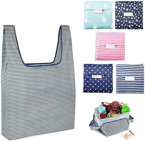 Bolsa de la Compras Plegables,6 Pack Bolsas Compras Reutilizable ...