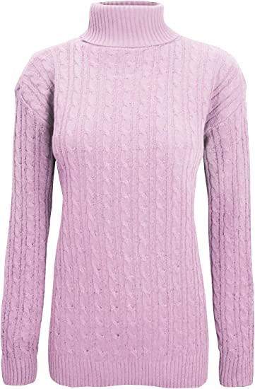 Be Jealous Womens Ladies Chunky Cable Knit Long Sleeve Turtle Polo High Neck Sweater Jumper UK Plus Size 8-18