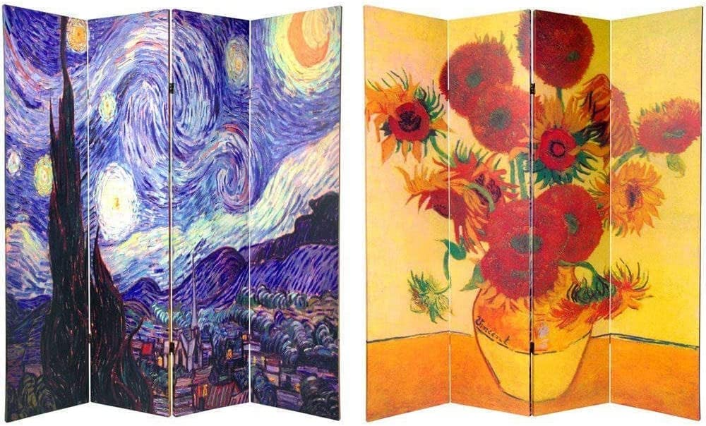 Oriental Furniture 6 ft. Tall Double Sided Works of Van Gogh Canvas Room Divider 4 Panel