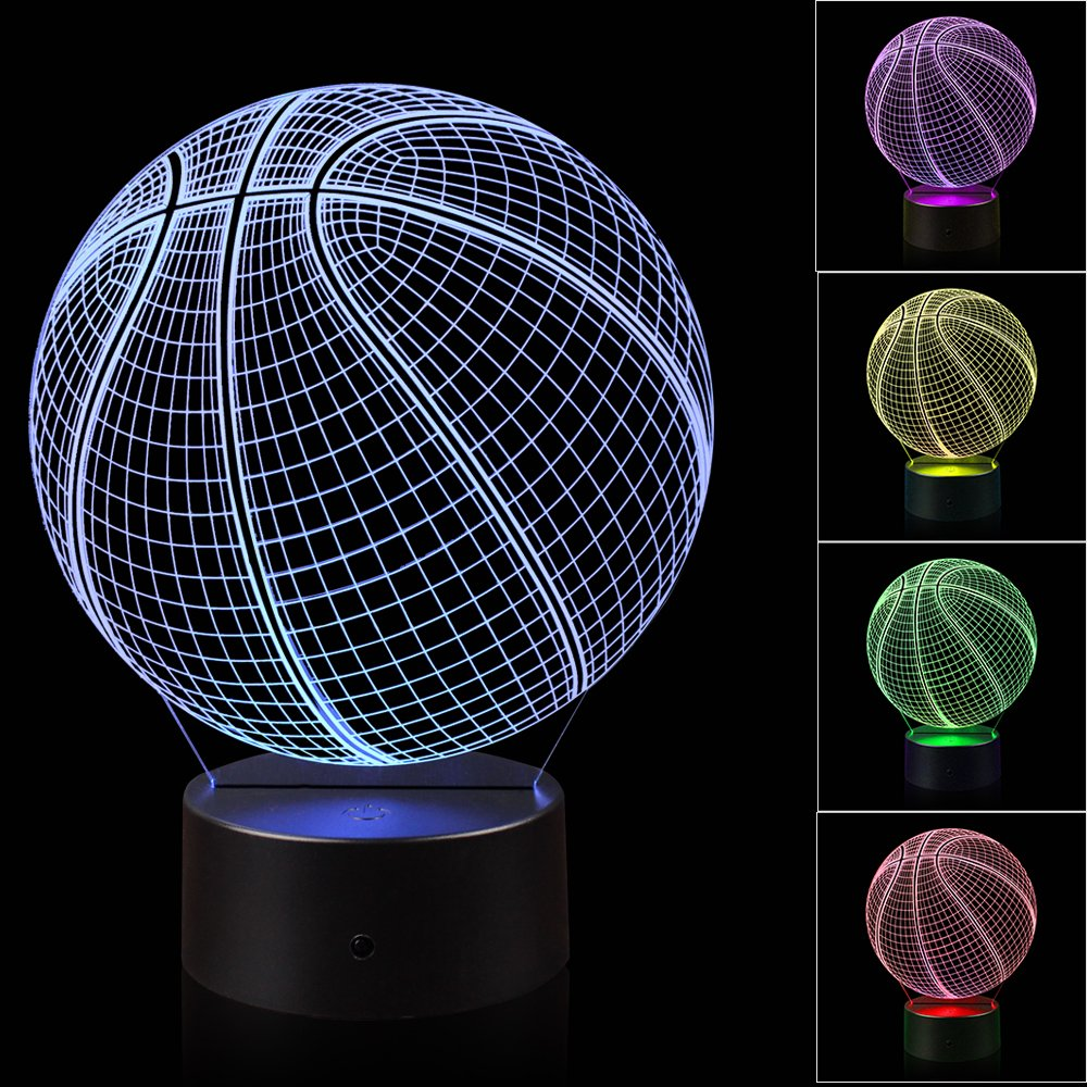 3D Illusion Basketball Night Light Lamp with 7 Color Change, Touch Base, Power by AA Batteries by AZALCO (Image #1)