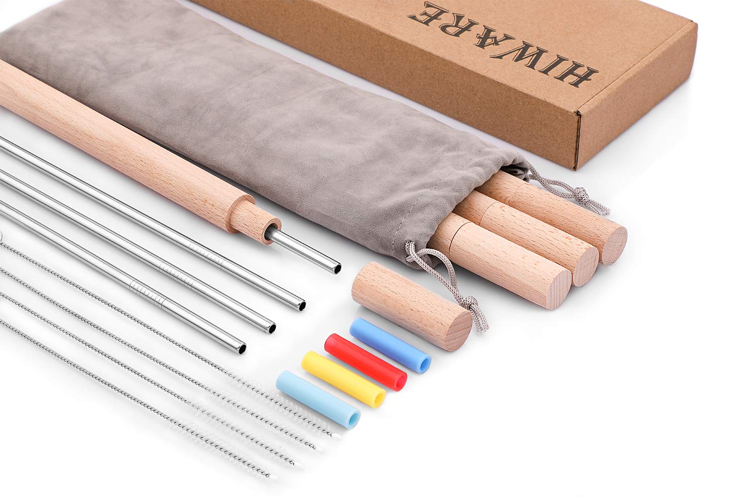 Hiware Reusable Stainless Steel Metal Straws with Case - Include Eco-Friendly Metal Drinking Straws with Silicone Straw Tips + Handcrafted Wooden Travel Cases + Cleaning Brushes + Storage Pouch