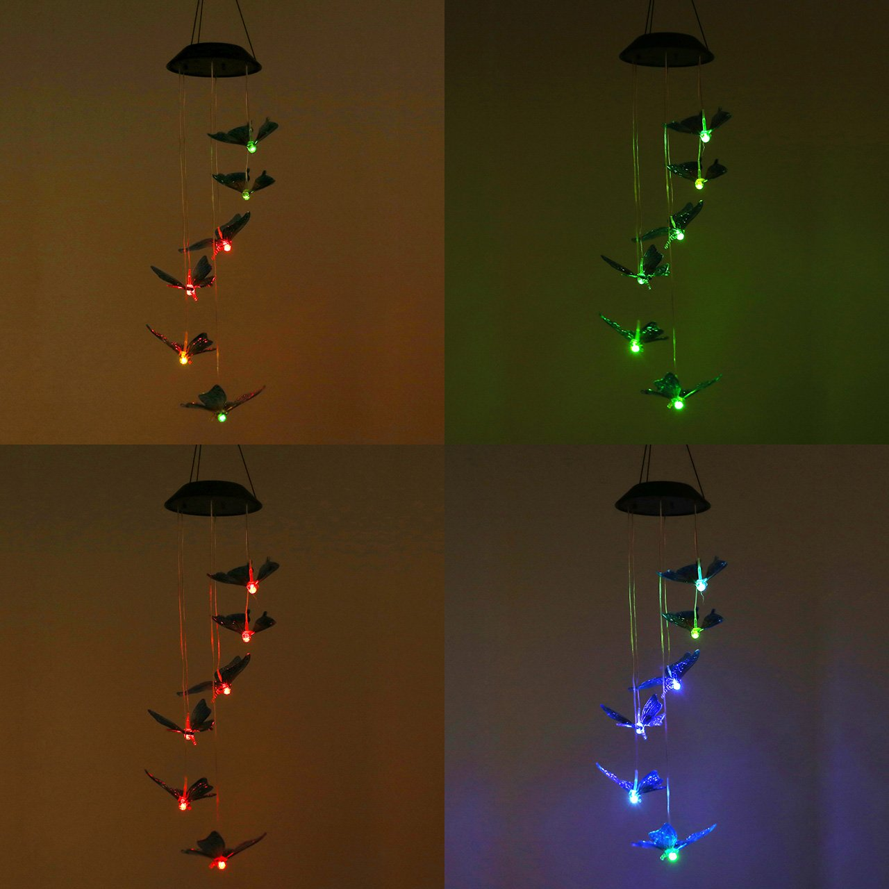 Yoption Color-Changing LED Solar Wind Chime, Romantic Spiral Spinner Outdoor Decorative Windbell Light for Patio, Deck, Yard, Garden, Home, Pathway (Colorful Butterfly)