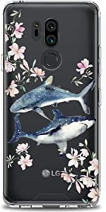 Cavka TPU Phone Case for LG G8 ThinkQ G7 Fit G6 V50 V40 V35 V30 Plus W30 Whale Clear Shark Flowers Design Print Floral Girls Fish Gift Love Lightweight Cute Flexible Slim fit Smooth Soft Art Teen