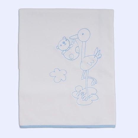 Ti-TIN Arrullo para Bebé de Doble capa de Punto Suave y Absorbente | 100% Algodón con Doble Tejido Interlock, Multifuncional, Bordado Cigueña Celeste.: Amazon.es: Bebé
