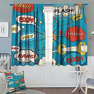 Superhero Home Decoration Thermal Insulated Pop Art Style Comic Speech Bubbles Funny Humor Expressions Boom Splash Bang Blackout Draperies for Bedroom 72