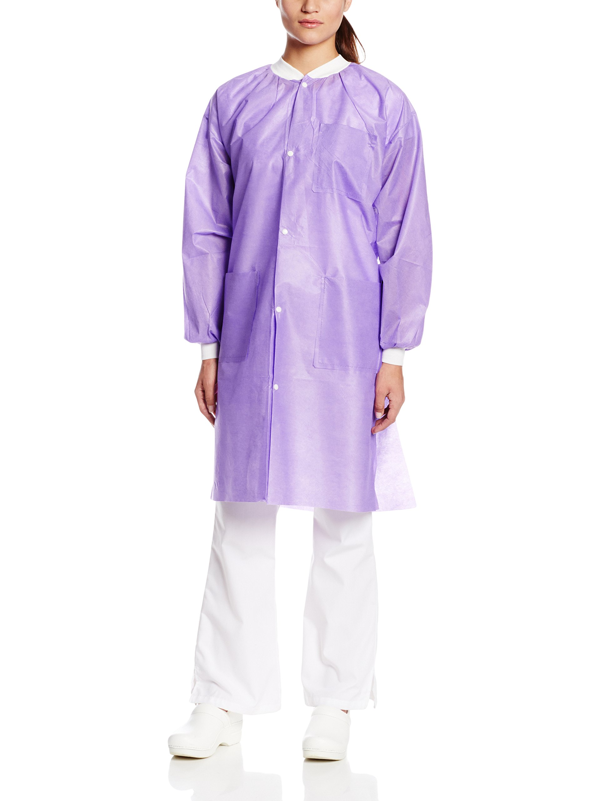 ValuMax 3560PPXL Easy Breathe Cool and Strong, No-Wrinkle, Professional Disposable SMS Knee Length Lab Coat, Purple, XL, Pack of 10