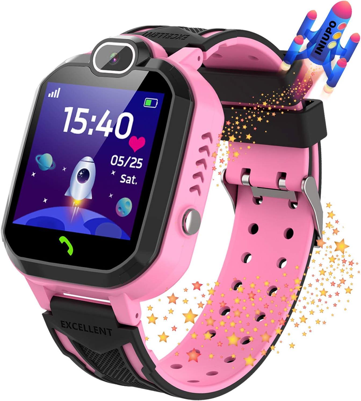 Reloj Inteligente para niños Kids Smartwatch para niños Niñas Juego de teléfono Smart Watch para niños Niños Reproductor de música Cámara Reloj Despertador Regalo de cumpleaños (Rosa)