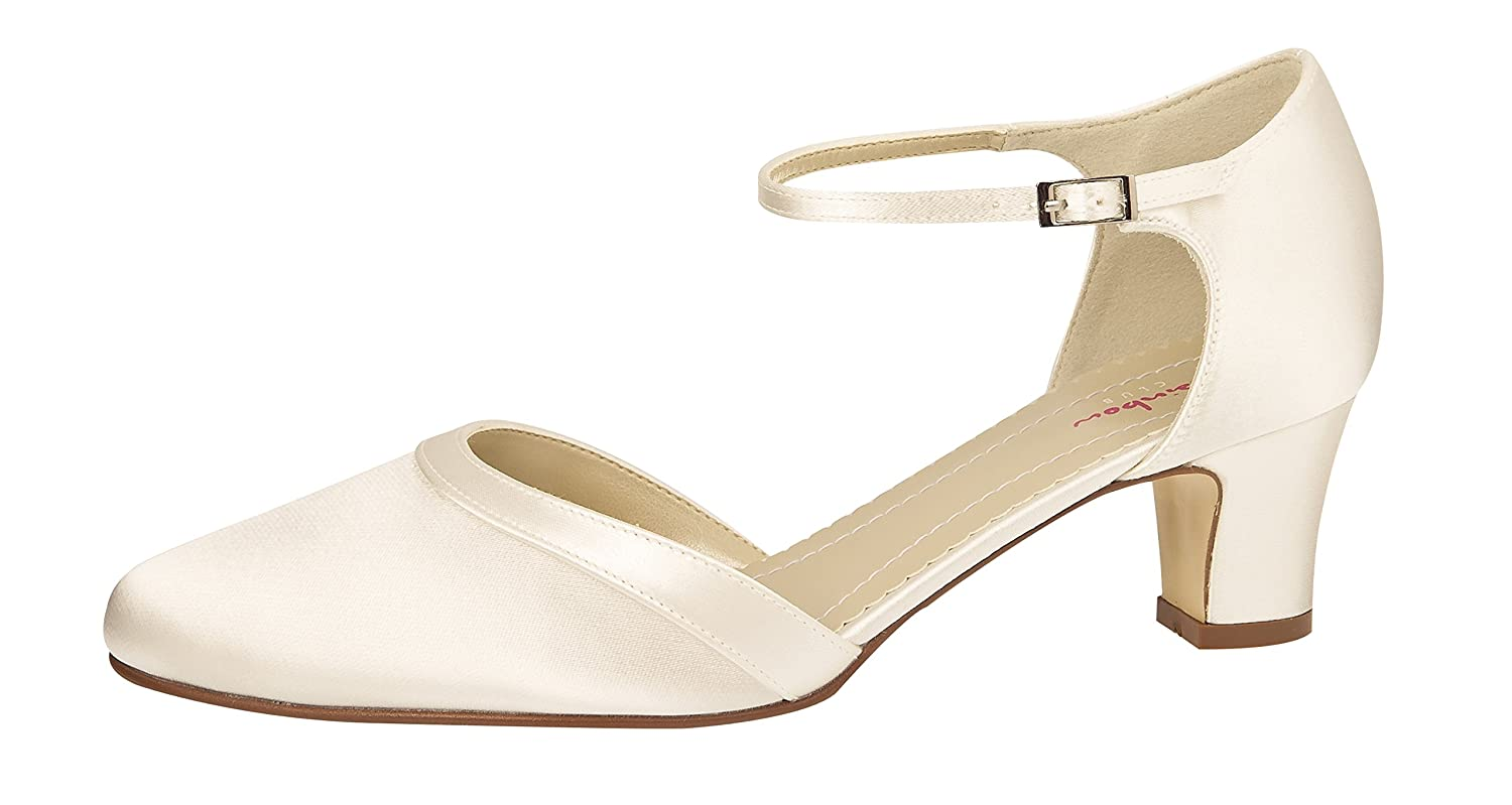 011d96d0533 Rainbow Club Wedding Shoes Anika Strappy Pumps Ivory Cream Satin Wedding  Shoes