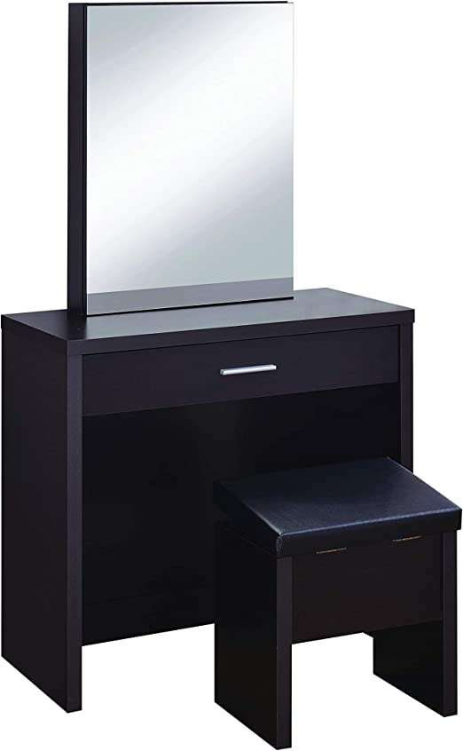Amazon Com 2 Piece Vanity Set With Hidden Mirror Storage And Lift Top Stool Cappuccino And Black Furniture Decor