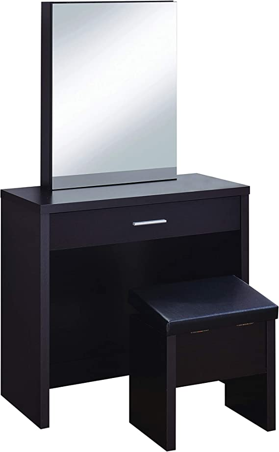 2 Piece Vanity Set With Hidden Mirror Storage And Lift Top Stool Cappuccino And Black Furniture Decor