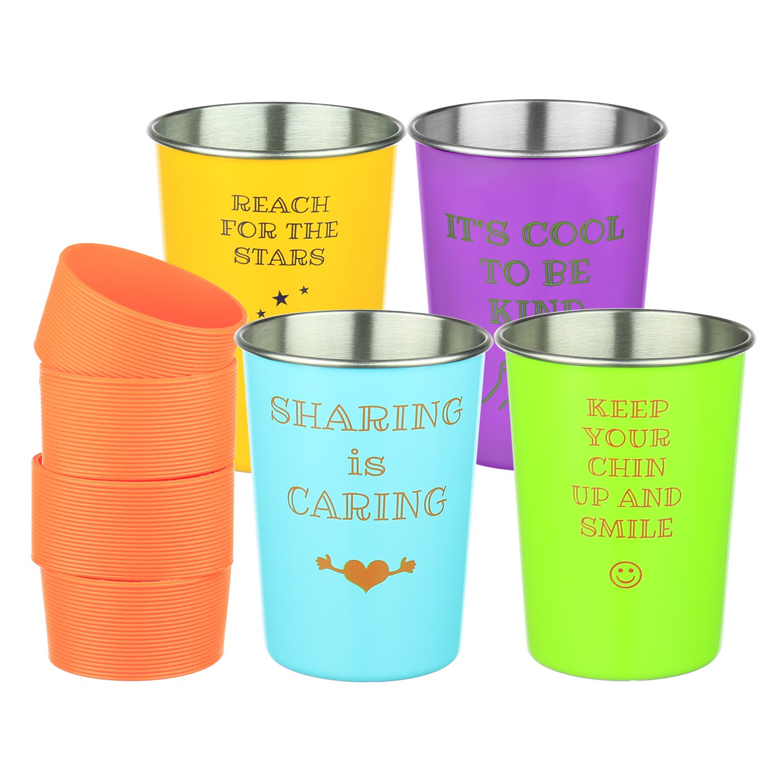 Bapon Organix Stainless Steel Drinking Cups w/ Silicone Sleeves (Kids 4-Pack) Stackable, Unbreakable, Reusable | Indoor & Outdoor Use | Inspirational Child-Friendly Sayings