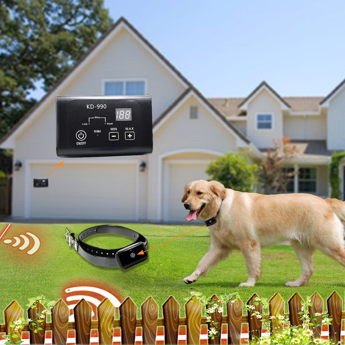 Two Dog Fence System AngelaKerry 2 X Electronic Dog Fence System, in-Ground Invisible Dog Containment with 650 950 Ft Wire, Receiver Send Beeps and Shock Correction (for Two Dog Fence System)