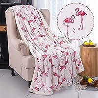RHF Flamingo Fuzzy Blanket,Plush Blanket,Fluffy Blanket,Bed Throw Blanket,Velvet Blanket,Thick Fleece,Cozy Blankets For Kids,Kids Blanket,Couch Blanket,Thick Fleece,Flamingo Gifts (Twin), White