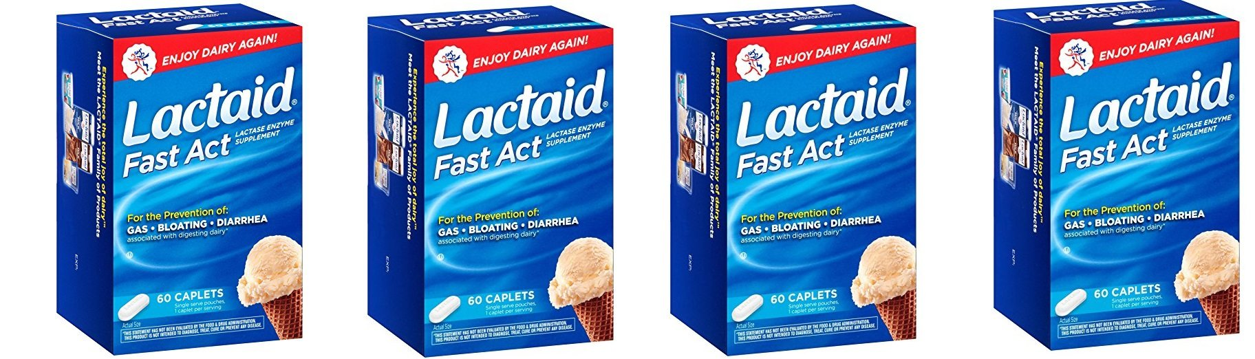 Lactaid, Fast Act Caplets, 60 BixMDx Count (Pack of 4) by