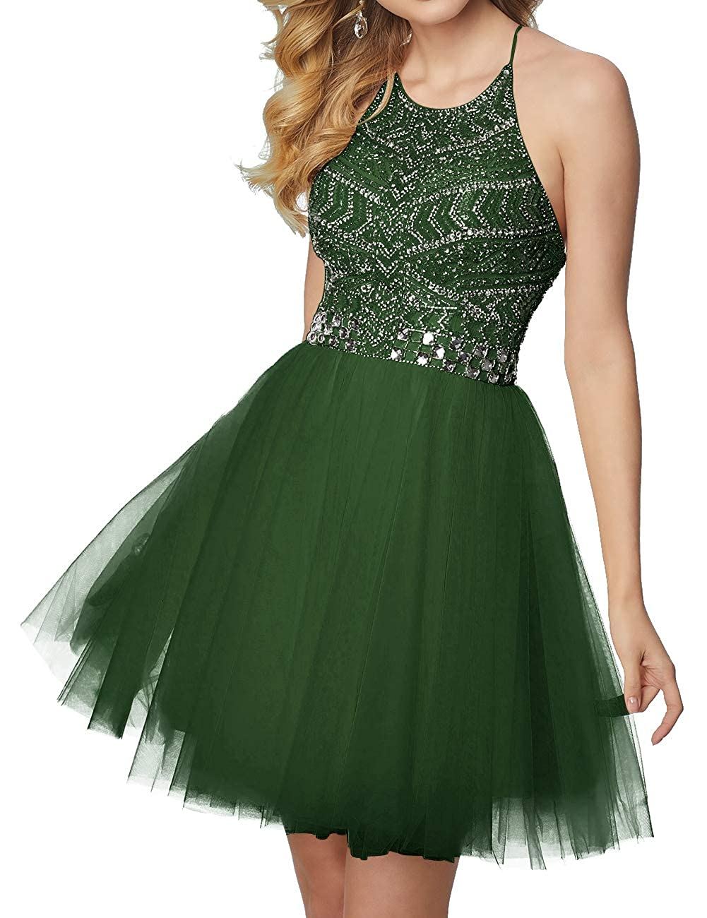 Dark_green Short Homecoming Dresses Tulle Halter Cocktail Prom Gowns Beads Formal Evening Party Dress