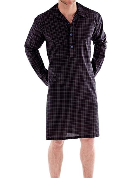 Hombre Tradicional camisones Noche Camisa Verano Pijama Top de cuadros y rayas: Amazon.es: Ropa y accesorios