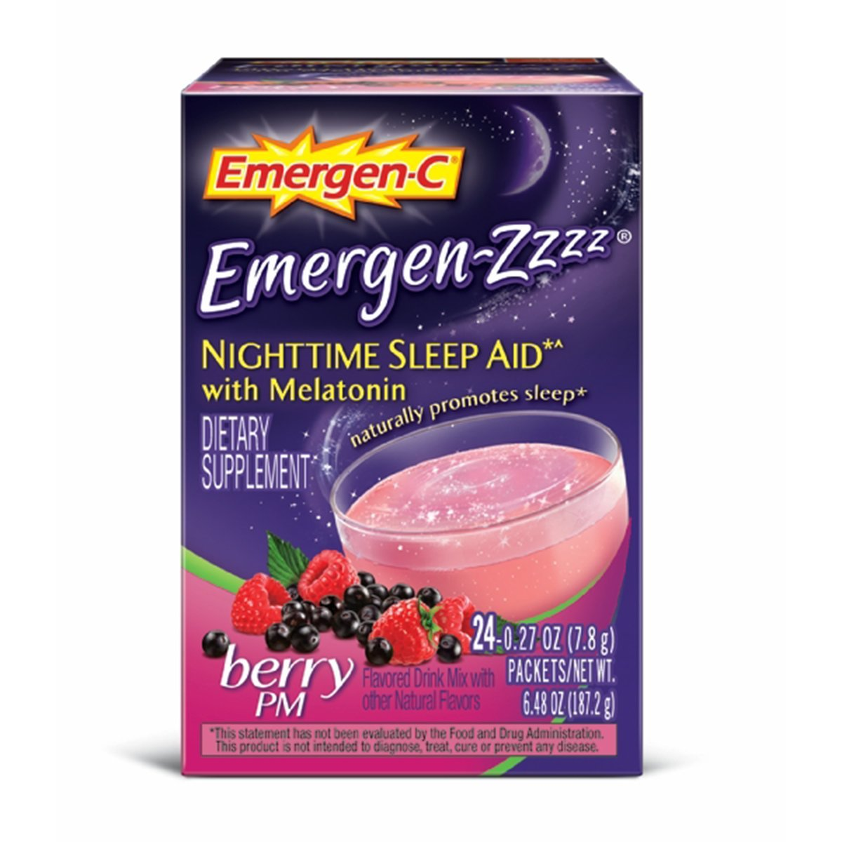 Emergen-C Emergen-Zzzz (24 Count, Berry PM Flavor) Dietary Supplement Fizzy Drink Mix Nighttime Sleep Aid with Melatonin with 500mg Vitamin C, 0.29 Ounce Packets (Pack of 12)